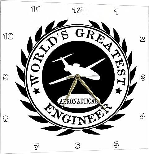 3dRose Worlds Greatest Aeronautical Engineer Award. Fun Job Pride Work Gifts – Wall Clock, 15 by 15-Inch DPP_165008_3