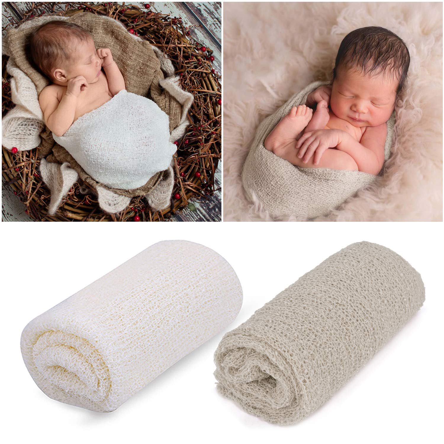 Outgeek Newborn Baby Photography Props 2 Pcs Long Ripple Wrap Newborn Props Baby Photo Props Diy Newborn Photography Wrap White And Light Brown