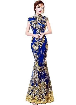 fd05fdc5e42 Amazon.com  Shanghai Story Keyhole Cheongsam Lace Mermaid Sequins Chinese  Qipao Dress  Clothing