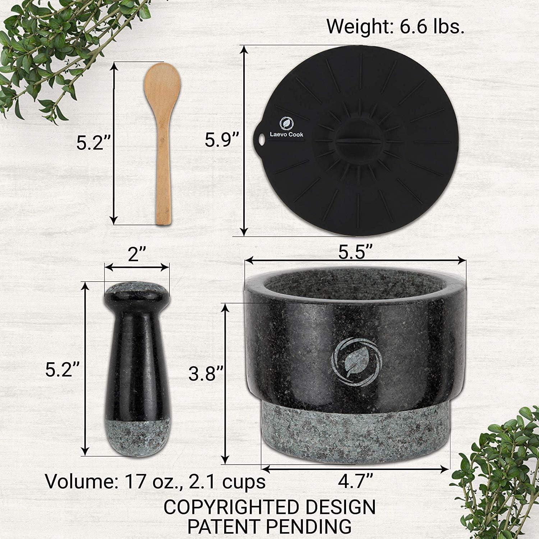 450 ml 14 cm inklusive: Silikondeckel und L Stößel- und Mörtelschale aus massivem Steinmahlwerk einzigartig doppelseitig Mörser und Stößel aus Granit Guacamol-Mörser und Stößel groß