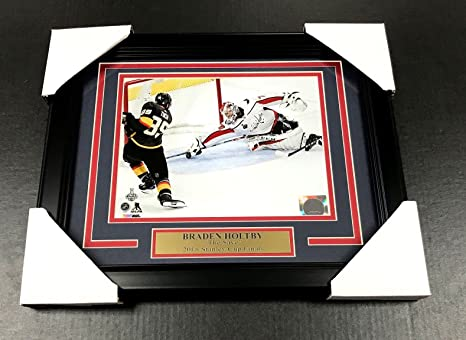ed582d09566 Image Unavailable. Image not available for. Color  BRADEN HOLTBY THE SAVE  WASHINGTON CAPITALS 8X10 FRAMED  1 2018 STANLEY CUP