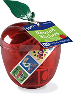 Pacon Apple Reward Sticker Dispenser With Stickers P0051480, 36 Sticker Designs, 468 Stickers