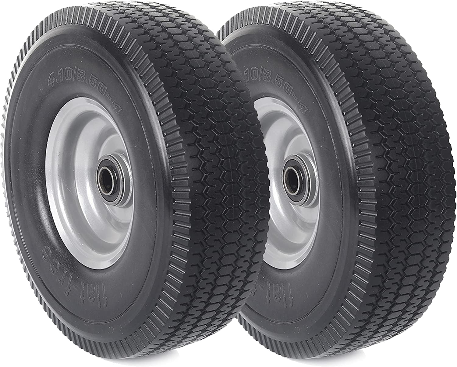 """(2-Pack) AR-PRO 4.10/3.50-4"""" Solid Rubber Tire and Wheel Assemblies - 10"""" Flat Free Tubeless Tires and Wheels for Utility Equipment - 5/8"""" Axle Bore Hole, Centered Hub, and Double-Sealed Ball Bearings"""