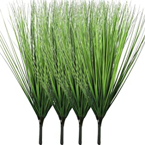 Beebel 4 Bunches Artificial Plants Plastic Wheat Grass Faux Shrubs Simulation Greenery Faux Flowers Fake Shrubs Plant for Outdoor Planters Indoor Outside Hanging Home Garden Wedding Décor