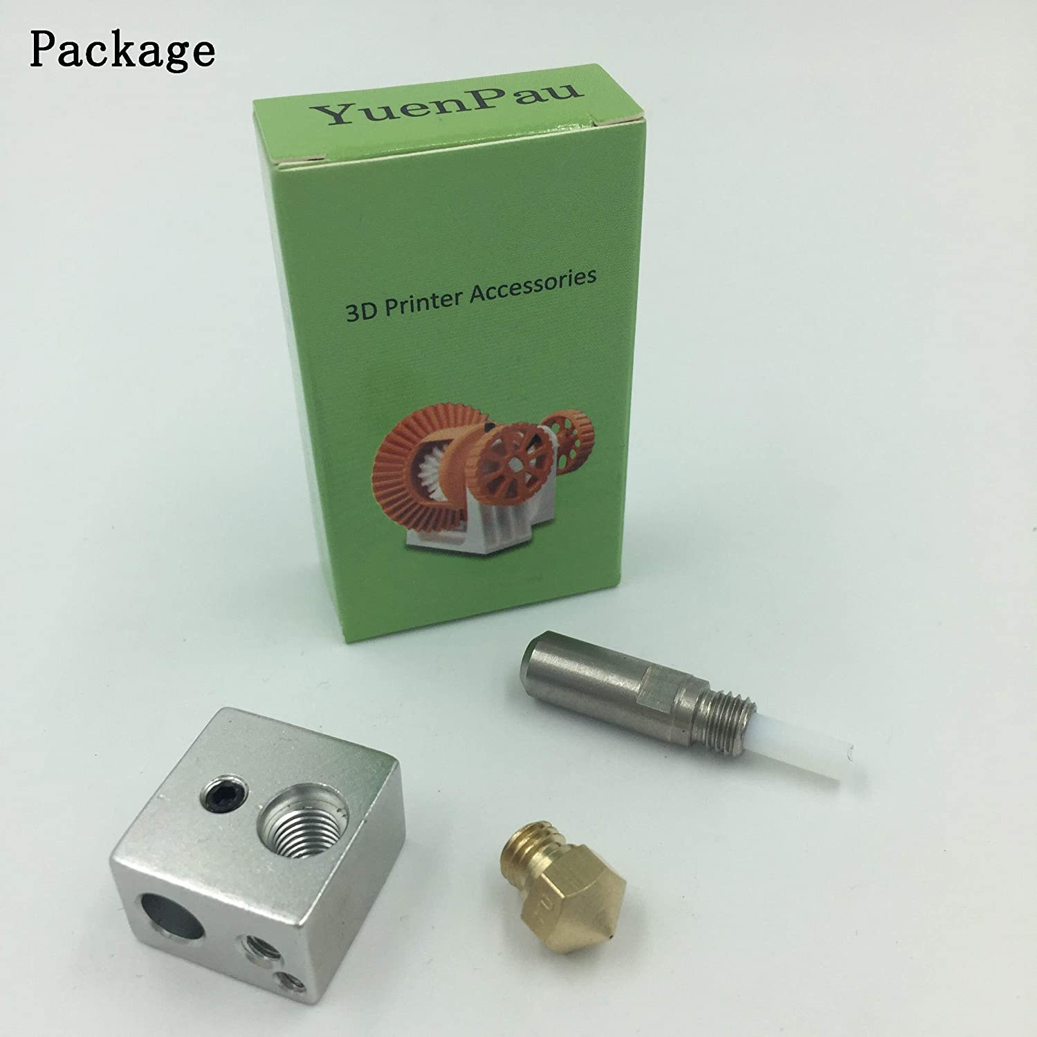 YuenPau MK10 Hotend Kit for 3D Printer M7 Brass Nozzle and Throat with PTFE Tube and Aluminum Heater Block Fit with M3 and M4 Thermistor Xingxi