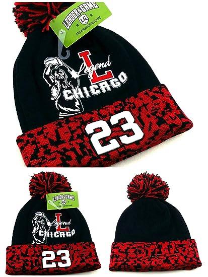 709f64ca1dec Amazon.com  Chicago New Leader Legend 23 Jordan Bulls Colors Black Red Toque  Pom Beanie Era Hat Cap  Sports   Outdoors