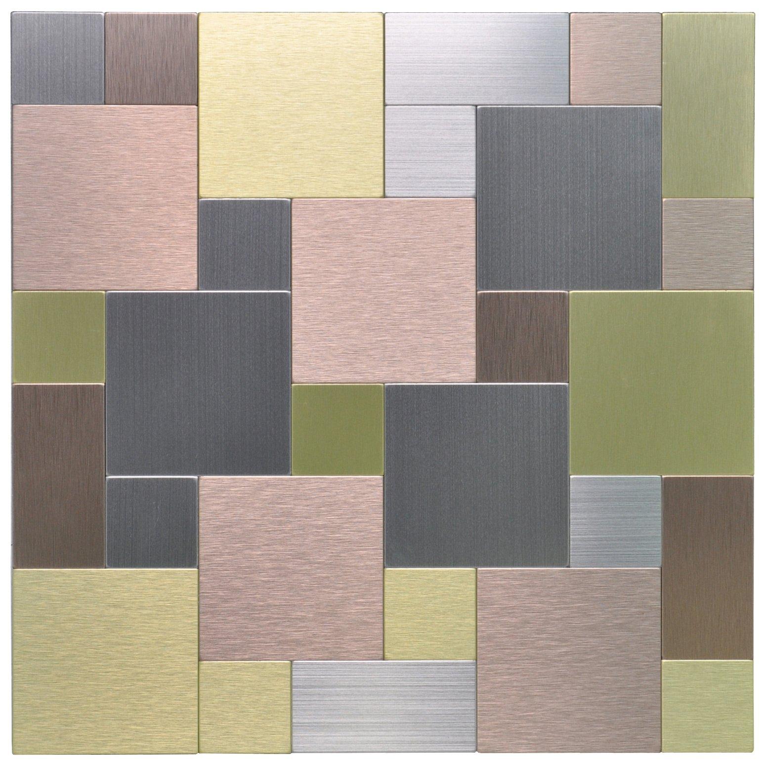 Art3d Peel and Stick On Metal Steel Backsplashes, 10-Piece Puzzle Brush Metal Square (Multi Color)