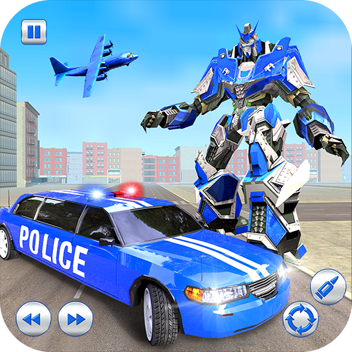 US Police Robot Limo Car Transformation Game