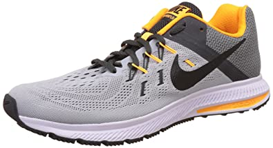 Nike Mens Zoom Winflo 2 Wolf Grey Blk Anthrct and Lsr Orng Running Shoes