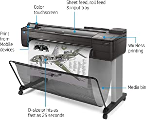 "HP DesignJet T730 Large Format Wireless Plotter Printer - 36"", with Security Features (F9A29A)"