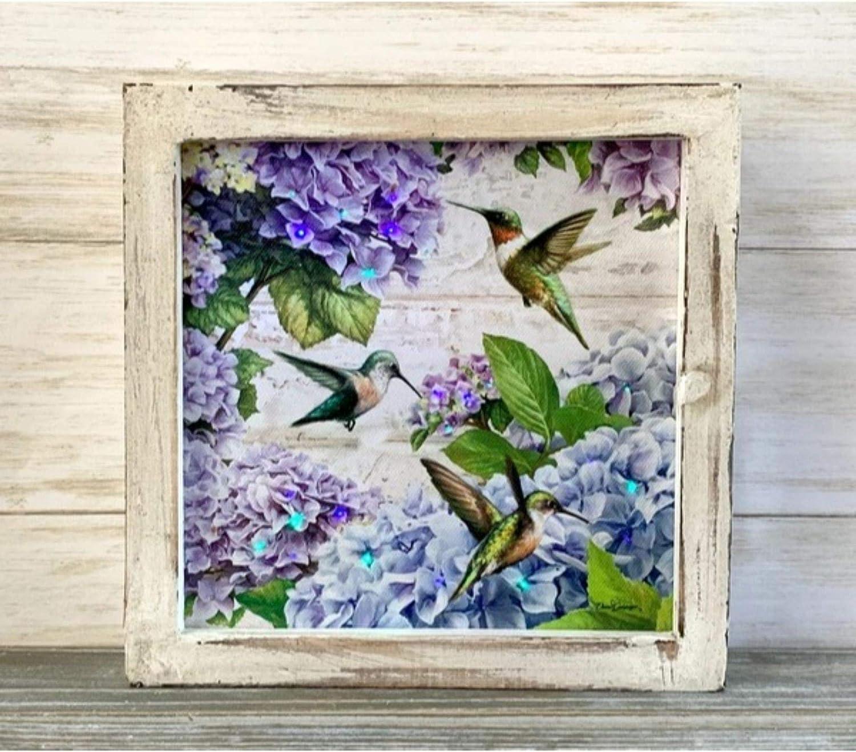 Details about  /Large Hummingbird Clip-on Purple Chiffon /& Purple Glitter Tree Mirror Decoration