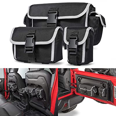 Sunluway Seat Back Tailgate Durable Multi-Size Organizer Storage Bags Replace 82215429 Molle Bags for 2020 2020 Jeep Wrangler JL JLU Rubicon: Automotive