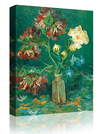 IPIC – Small Bottle with Peonies and Blue Delphiniums , Vincent Van Gogh Art Reproduction. Giclee Canvas Prints Wall Art for Home Decor 10 F 16X20