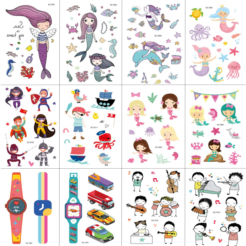 Amazon.com: Mermaid Temporary Tattoos for Children Kids Girls ...
