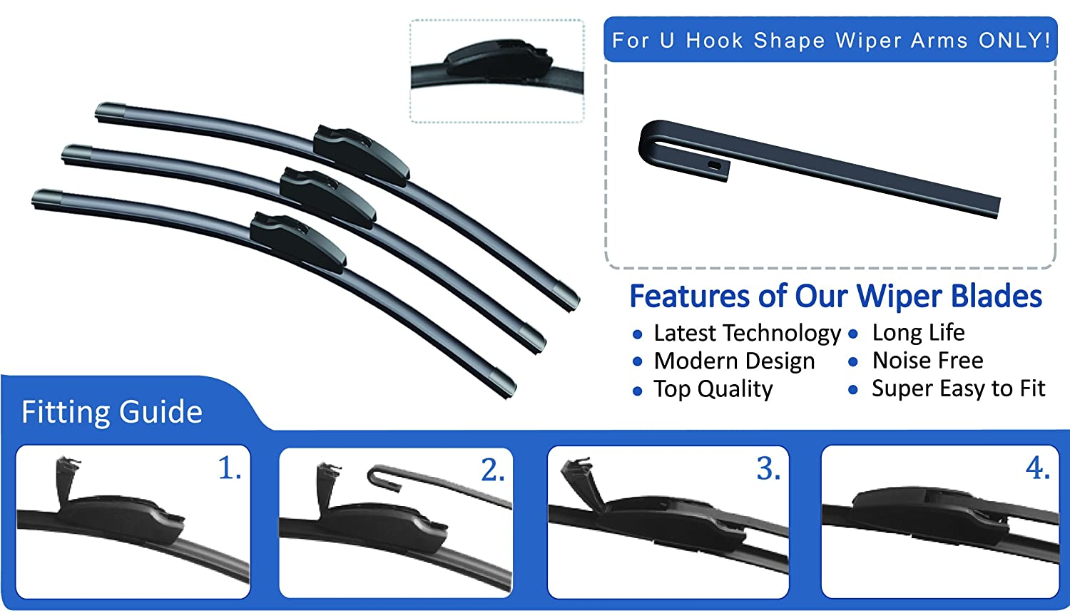 Ford focus 1998 2004 front rear wiper blades 22 19 16 amazon co uk car motorbike