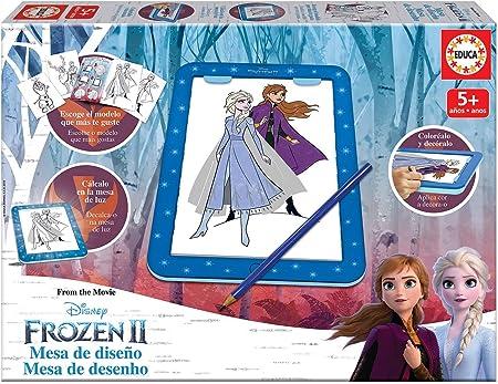 Educa- Frozen 2 Mesa de diseño y de luz para Dibujar, Incluye librito, Lapiz y Hoja con Adhesivos (18369): Amazon.es: Juguetes y juegos