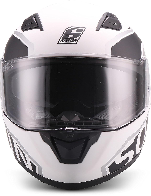"Soxon  ST-1000 Mono /""Navy/""  Integral-Helm  Motorrad-Helm Scooter-Helm Full-face Cruiser Roller Sturz-Helm  ECE zertifiziert  inkl Sonnenvisier  Click-n-Secure Verschluss  M 57-58cm"