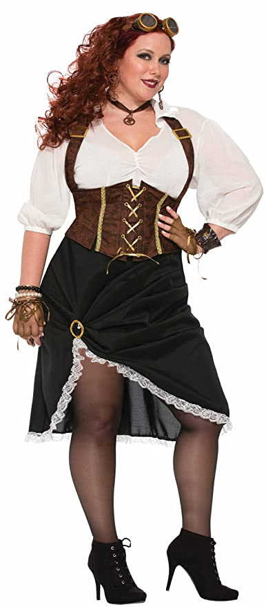 Steampunk Plus Size Clothing & Costumes Forum Womens Steampunk Lady Costume with Corset Style Dress  AT vintagedancer.com