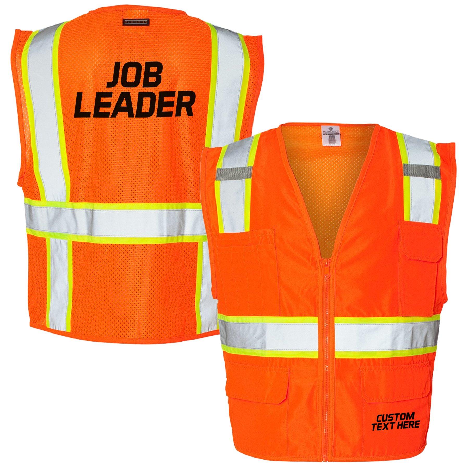 Custom Kamal Ohava Personalized Mesh Back Reflective Safety Vest, Orange, XL