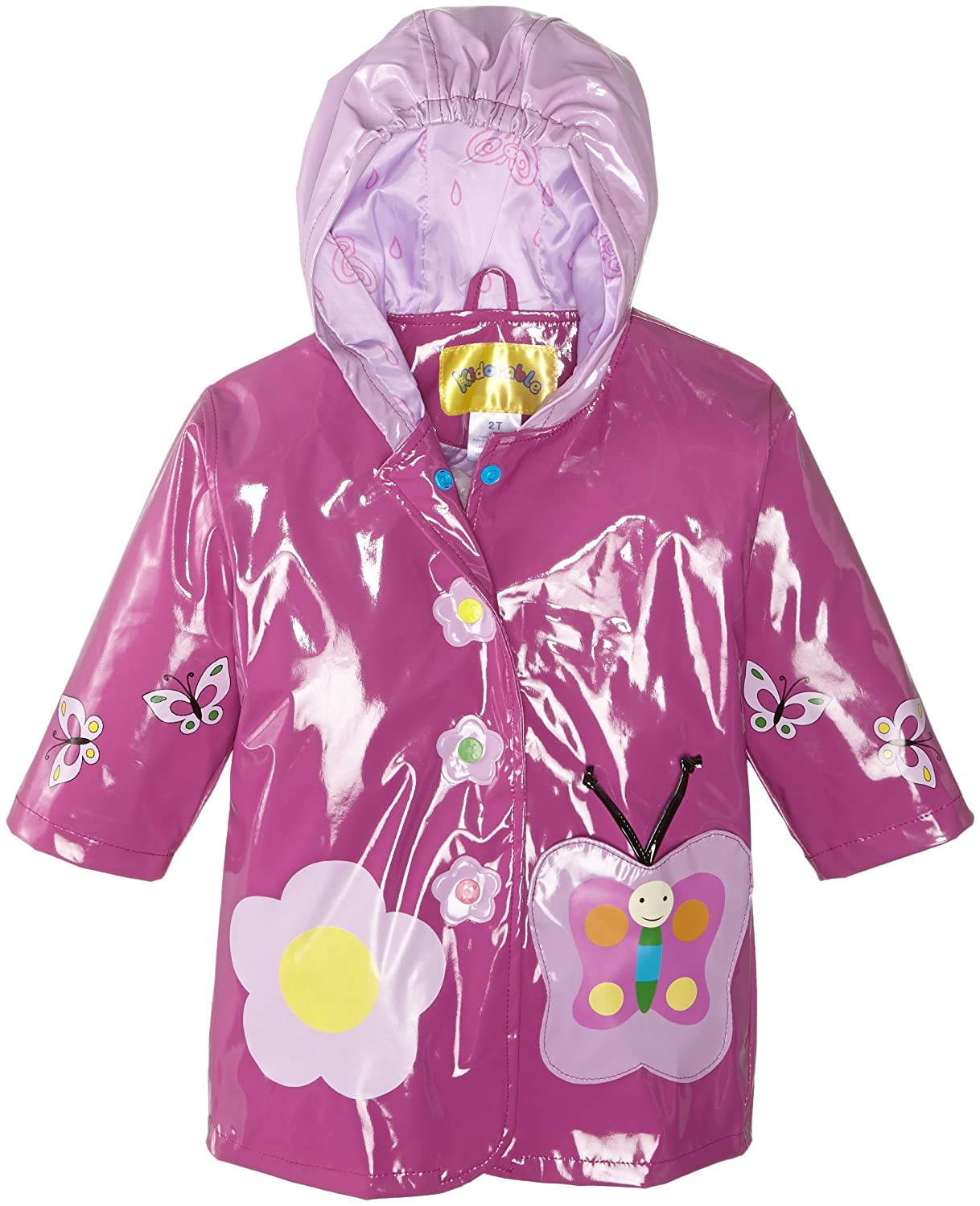 Kidorable Purple Butterfly PU All-Weather Raincoat for Girls With Fun Flowers and Butterflies 391186
