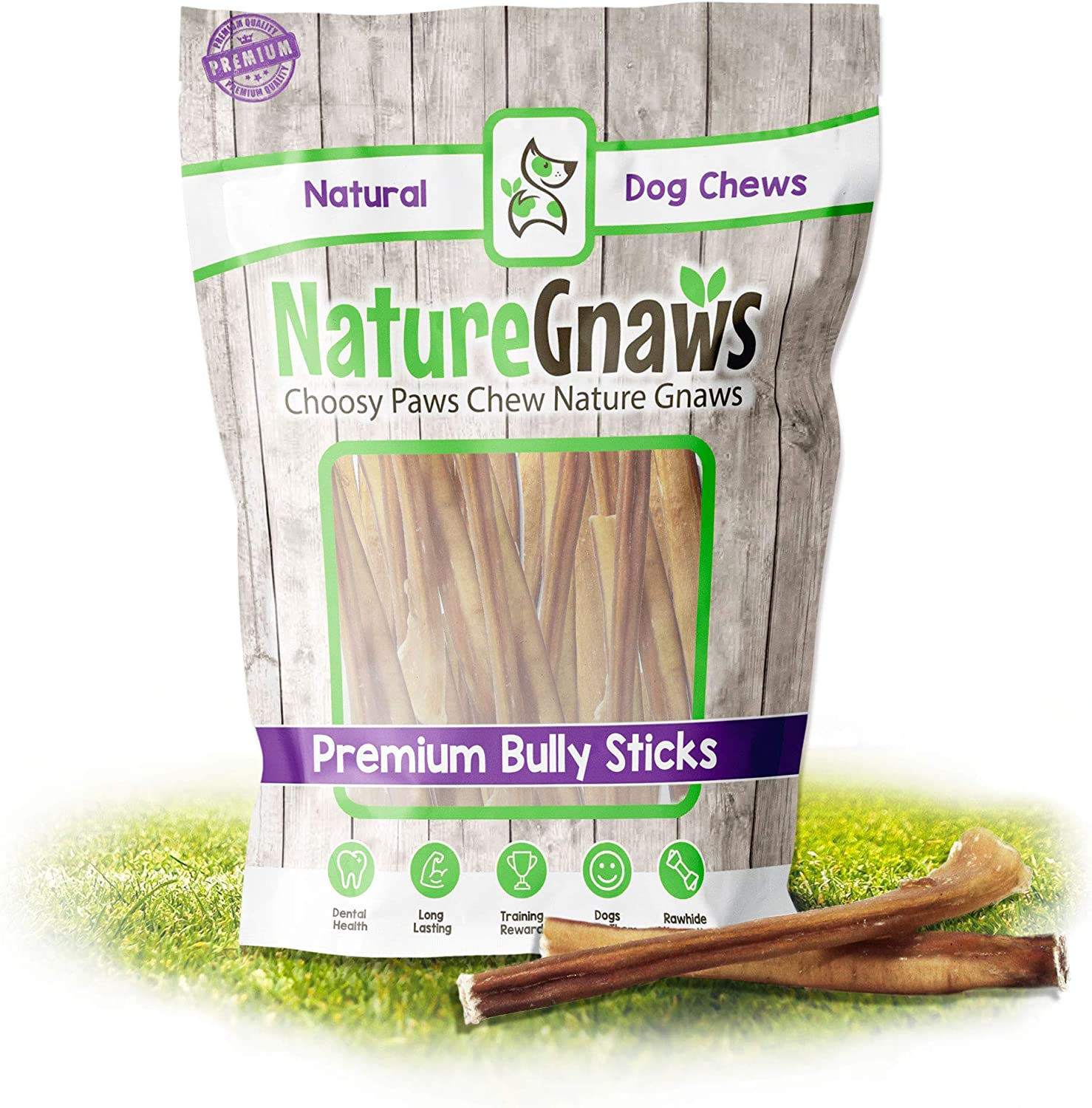 Nature Gnaws Small Bully Sticks - Premium Natural Free-Range Beef Dog Chews - Single Ingredient & Long Lasting Chew Treats for Small Dogs - Rawhide Alternative Bones