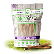 Nature Gnaws Small Bully Sticks - 100% Natural Grass-Fed Free-Range Premium Beef Dog Chews - Single Ingredient & Long Lasting Chew Treats for Dogs