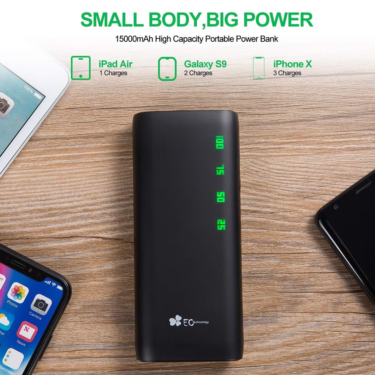 EC Technology PowerBank Portatile 15000 mAh con doppia USB a 3.1A di output e 2A di Input per ricarica veloce, Batteria esterna ad alta capacità con AUTO IC, compatibile con iPhone, iPad, Samsung Galaxy e tanto altro - Nero