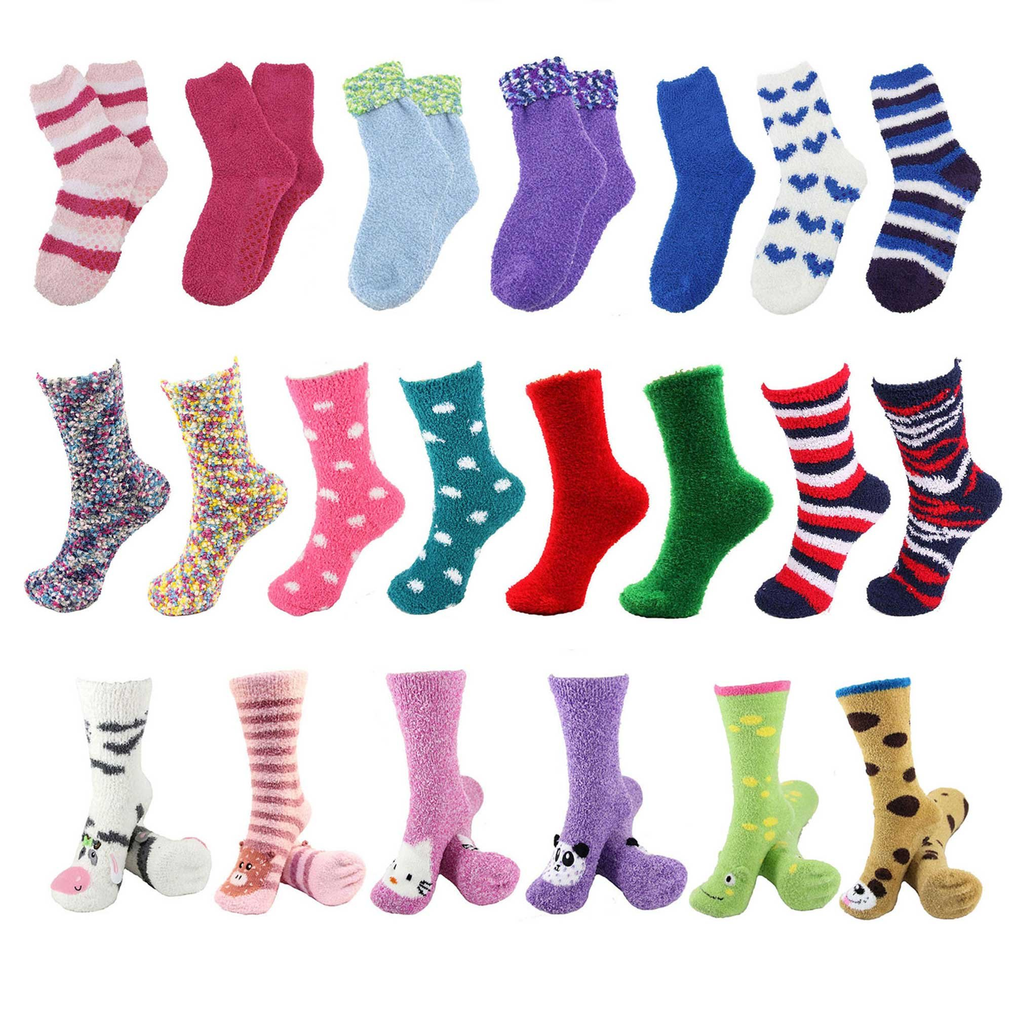 Sock of the Month Club - Fuzzy Cozy Home Socks for Women - 3 pr/mo for 12 Months