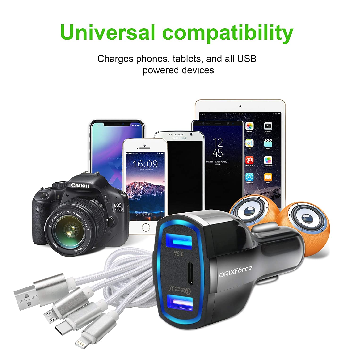 USB-c PD Charger Adapter 4X Faster for Apple iPhone Xs Max//XR//8//7//6//Plus Galaxy S9//S8 Note 9//8 Car Charger ORIXf/örce Dual USB Ports iPad Air 2//Pro//Mini 3 HTC Nexus LG Pixel USB Cable