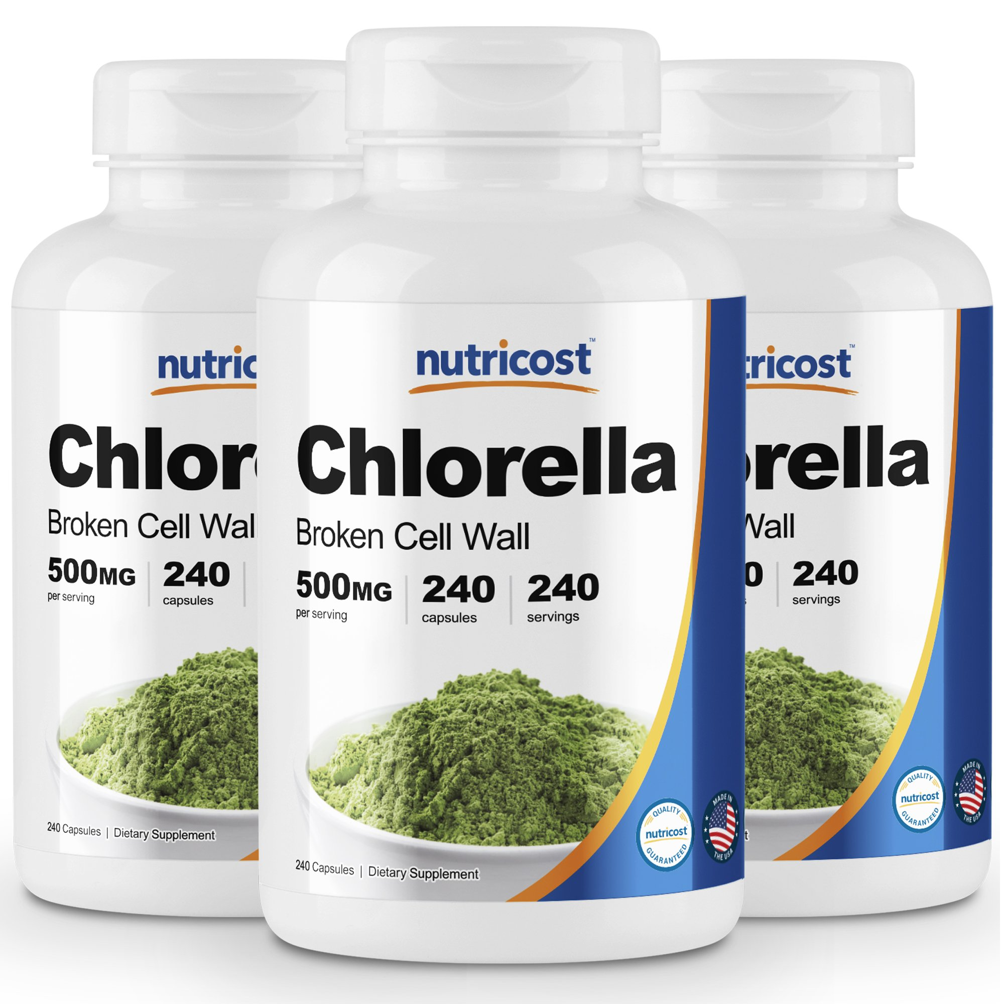Nutricost Chlorella Capsules (3 Bottles) 500mg, 240 Capsules