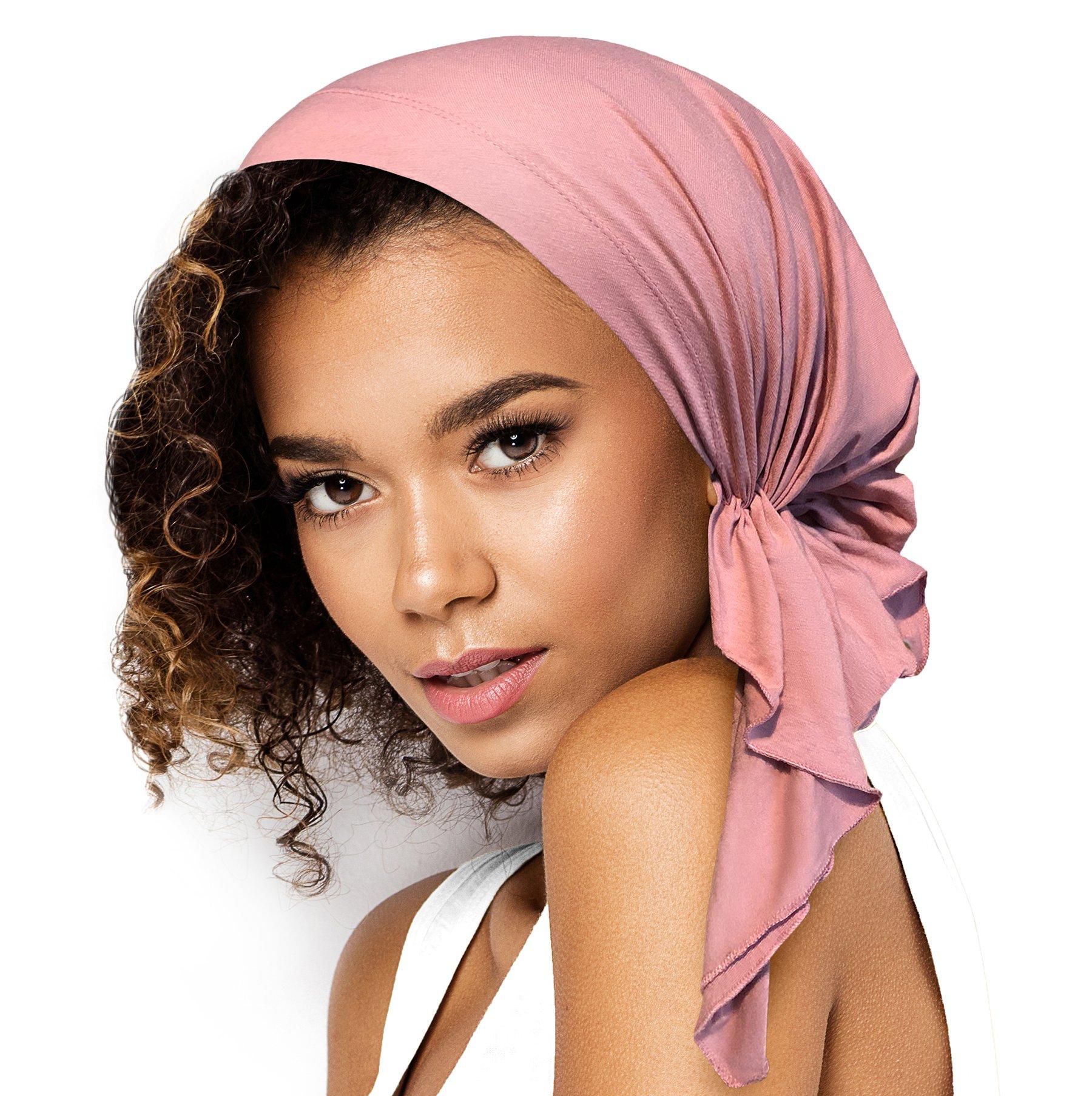 Pre-Tied Cotton Headwear Head-Scarf Chemo Cancer & Tichel Friendly in 30 Colors! (Dusty Pink Short)