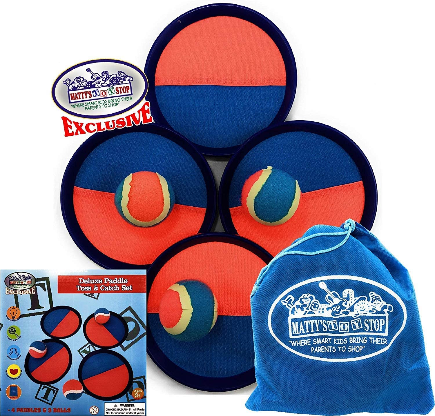Matty's Toy Stop Deluxe Toss & Catch (Hook & Loop) Tropical Colors Paddle Game Set with 4 Paddles, 3 Balls & Storage Bag