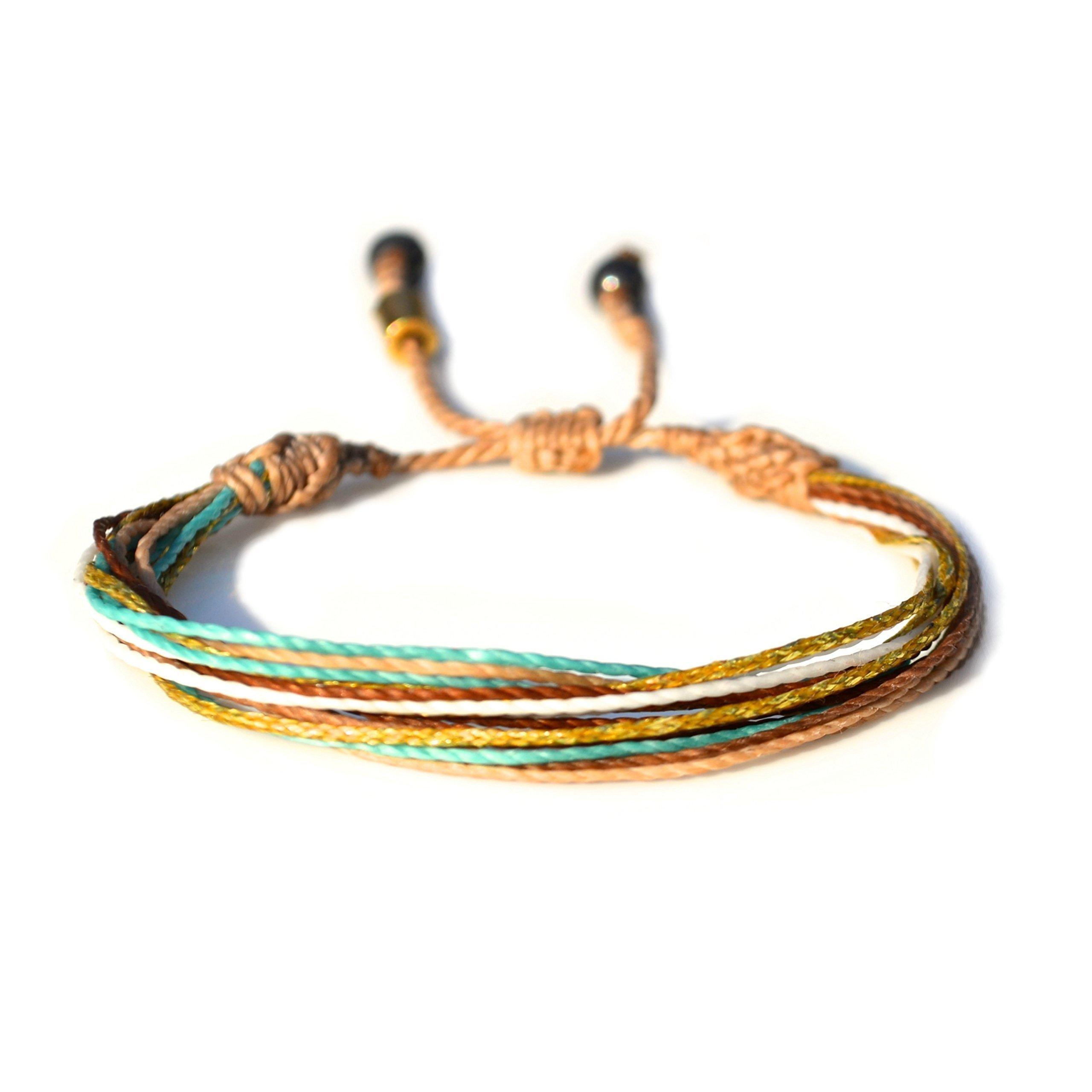 Surfer String Bracelet with Hematite Stones in Tan, Metallic Gold, Aqua, White, and Rust: Handmade Unisex Rope Friendship Beach Adjustable Surf Bracelet for 6-7'' Wrist by Rumi Sumaq