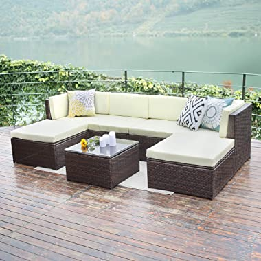 Wisteria Lane Outdoor patio furniture sets,7 Piece Sectional Sofa Couch Conversation sets Garden Rattan Chair Glass Table with Ottoman Brown Wicker, Light Yellow Cushion