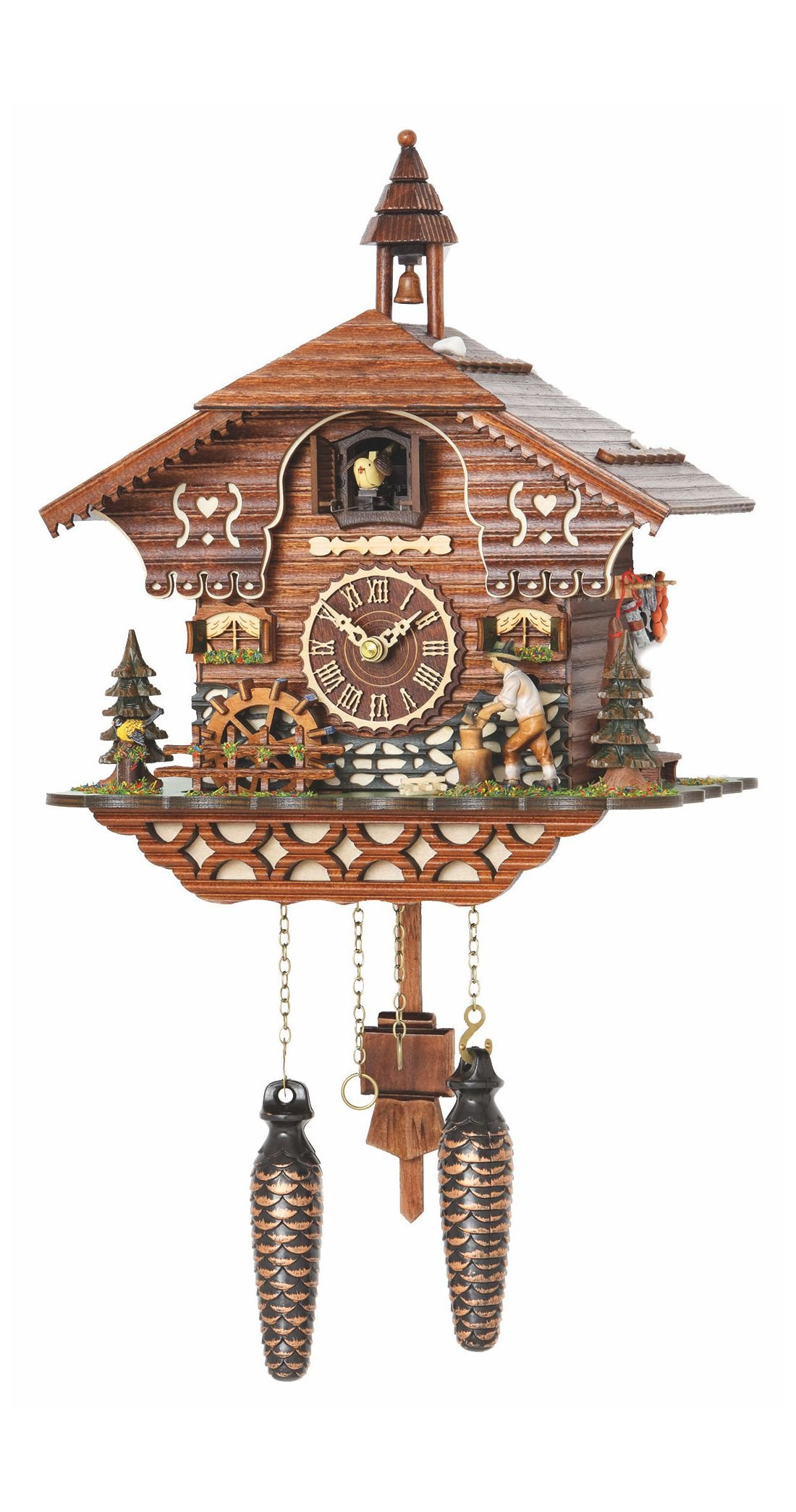 Quartz Cuckoo Clock Black Forest house with moving wood chopper and mill wheel, with music, incl. batteries TU 4217 QM by Trenkle Uhren