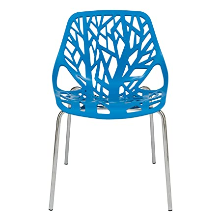 LeisureMod Modern Asbury Dining Chair with Chromed Legs Set of 2 , Blue