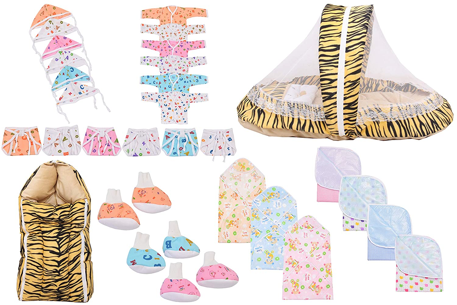 Baby Fly Baby Combo Gift Pack of 6 Jhabla, 6 Nappy, 6 Cap, 1