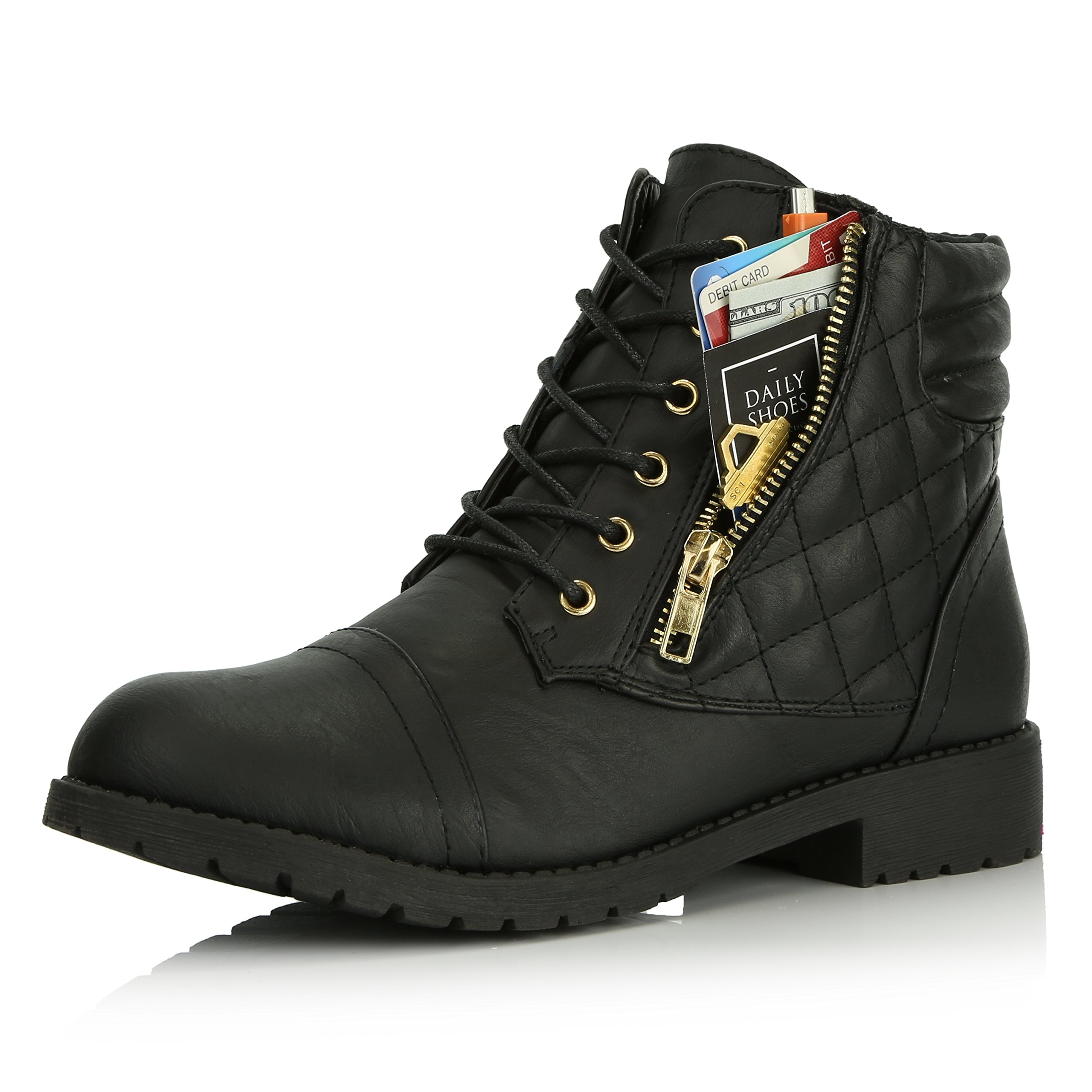 DailyShoes Women's Military Lace up Buckle Combat Boots Ankle High Exclusive Credit Card Pocket, Black Pu, 7