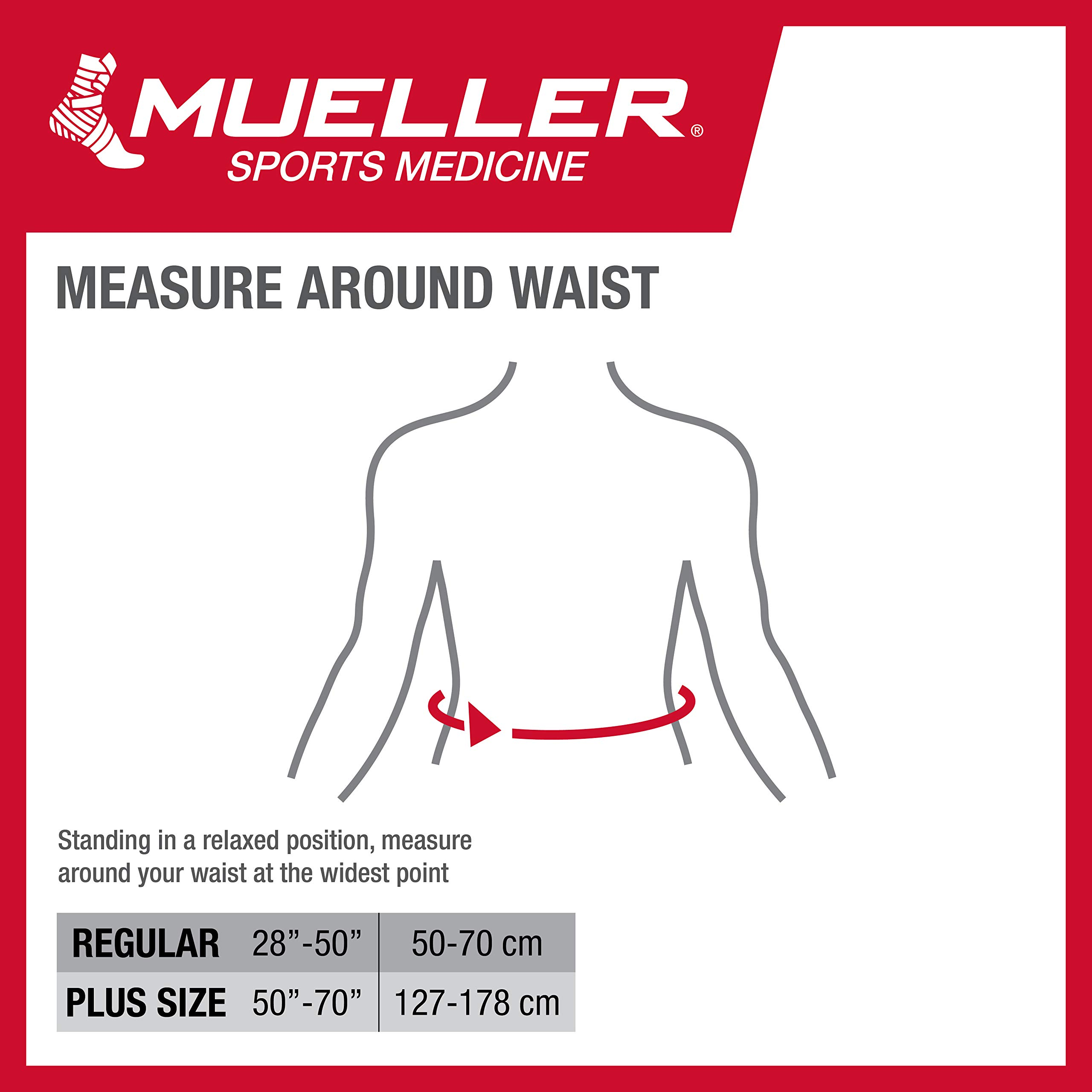 Mueller 64179 Adjustable Back Brace with Removable Pad Fits Waist Size Plus (28''-50'' waist), Black by MUELLER
