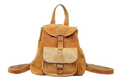 Conception innovante 8b9e4 a4594 Paul Marius LE BAROUDEUR Safran petit sac à dos en cuir suédé nubuck de  vachette style vintage