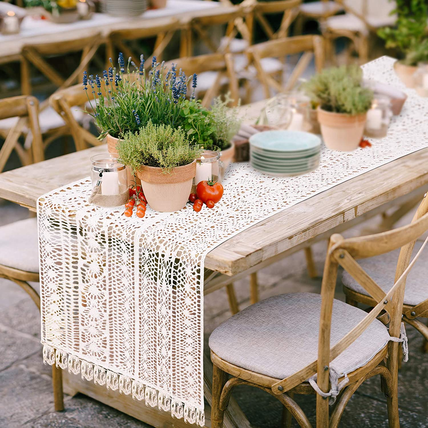 Ruisita 2 Pieces Cotton Crochet Lace Table Runner Wedding Table Runner Table Runner with Tassels Woven Lace Dining Table Runner for Wedding Bridal Party Home Decor 15 x 72 Inches, Ivory