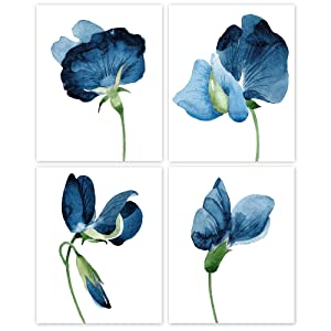 Navy Blue Tone Flowers Poster Prints, Set of 4 (8x10) Unframed Photo, Wall Art Decor Gifts Under 20 for Home, Office, Kitchen, Bathroom, Salon, Studio, College Student, Teacher, Floral and Garden Fan
