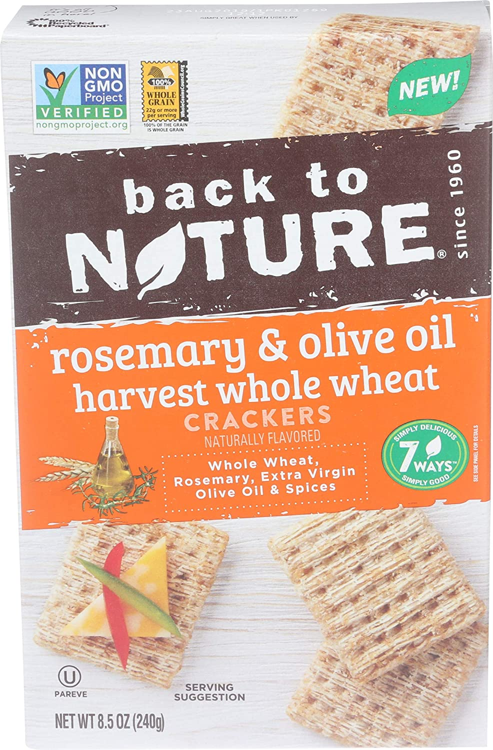 BACK TO NATURE Rosemary Olive Oil Harvest Whole Wheat Crackers, 8.5 OZ