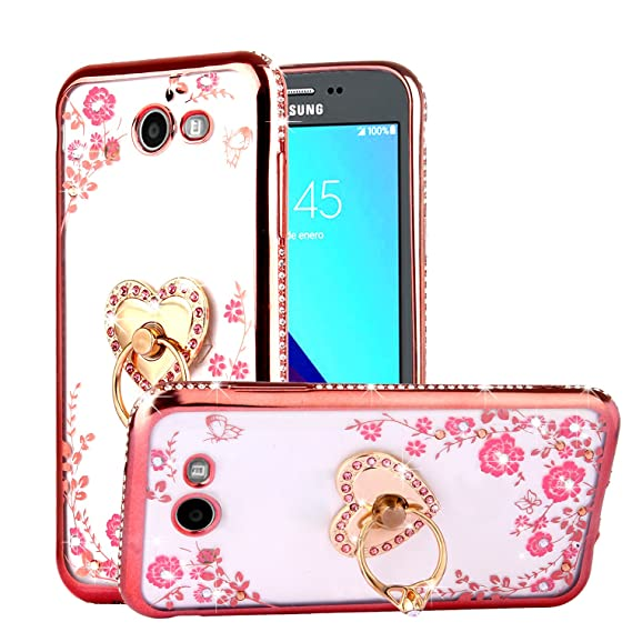 CaseHaven Galaxy J3 Emerge Case, Glitter Crystal Heart Floral Series - Slim  Luxury Bling Rhinestone Clear TPU Case with Ring Stand for Galaxy J3