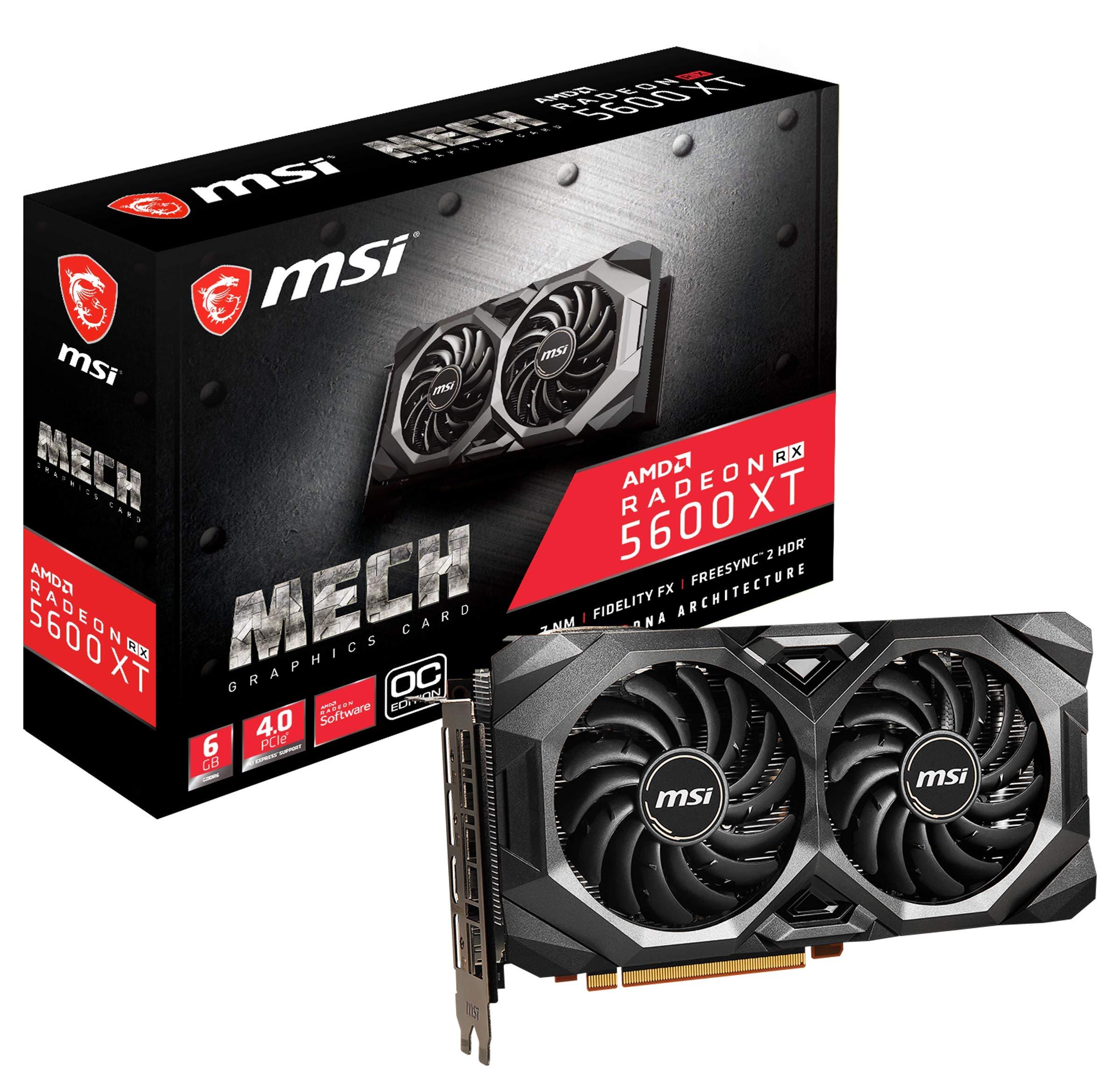 MSI Gaming Radeon RX 5600 XT Boost Clock: 1600 MHz 192-bit 6GB GDDR6 DP/HDMI Dual Torx 3.0 Fans Freesync DirectX 12 Ready Graphics Card (RX 5600 XT MECH OC)