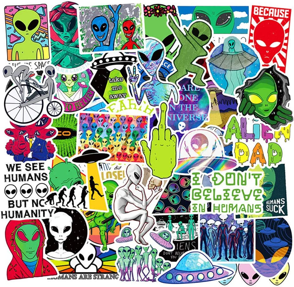 Ratgoo 50pcs Cute Trendy Waterproof Vinyl Stickers Pack of Aliens Series Graffiti Sticker Pack for Motorcycle Car Phone Guitar MacBook Water Bottle Flasks Bike Laptop Motocross Decals for Girl
