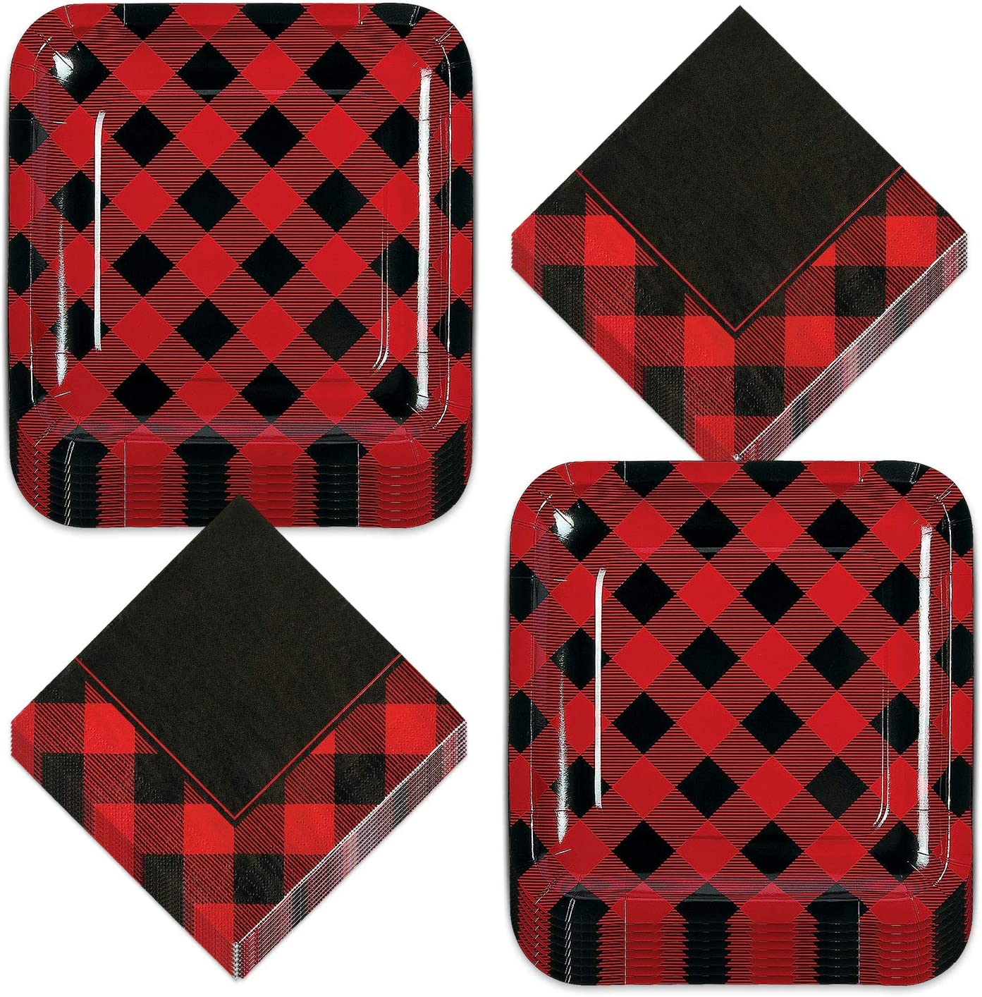 Buffalo Plaid Party Supplies - Red and Black Checkered Paper Dinner Plates and Luncheon Napkins (Serves 16)