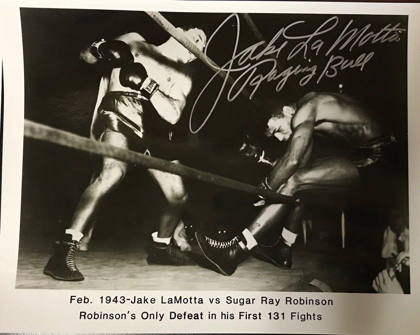 JAKE LaMOTTA AUTOGRAPHED 8X10 PHOTO THE RAGING BULL SUGAR RAY ROBINSON -QOL - PSA/DNA Certified - Autographed Boxing Photos Baseball Card Outlet