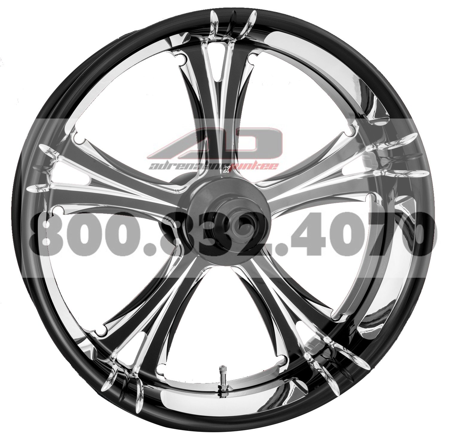 Xtreme Machine Fierce Rear Wheel - 18x4.25 - Black Cut Xquisite , Color: Black, Position: Rear, Rim Size: 18 1290-7809R-XFR-BMP by Xtreme Machine