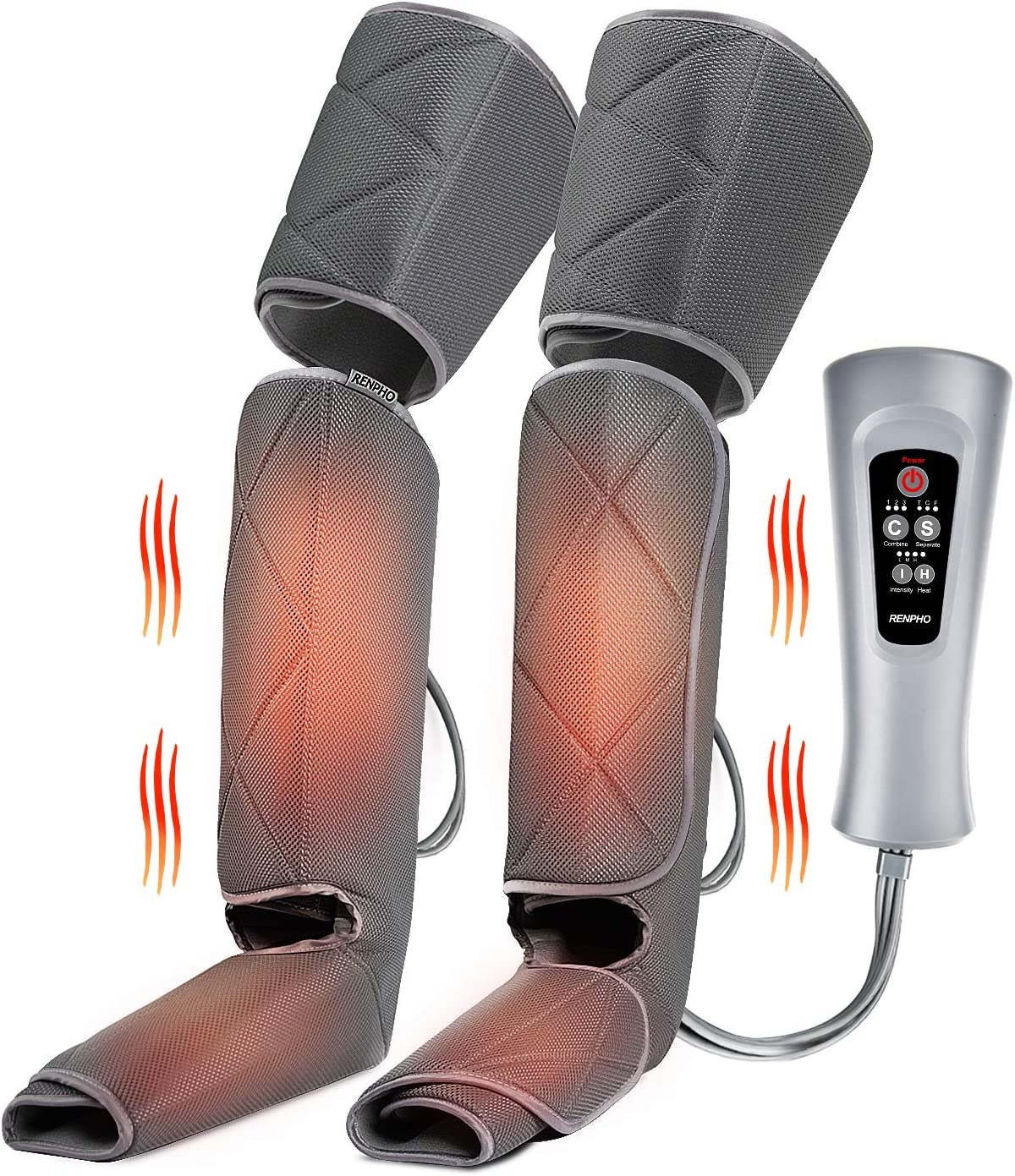 RENPHO Leg Massager for Circulation With Heat, Compression Calf Thigh Foot Massage, Adjustable Wraps Design for Most Size, With 3 Modes 3 Intensities, Gift for Mom Dad to Relax Leg Pain Muscle Fatigue